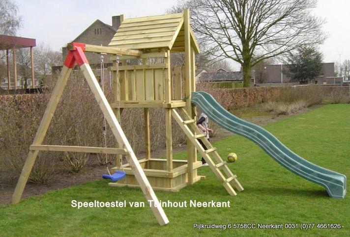 Speeltoestel 120 tuinhout neerkant for Houten trap buiten